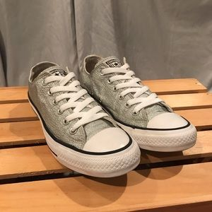 Converse All Star Metallic Silver Low Top Size 8